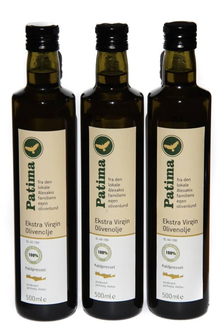 Patima olive oil bottles